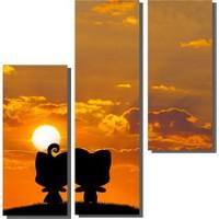 Dekor Sevgisi 3 Parçalı Sevimli Kediler Tablosu 80x80 cm
