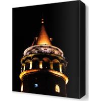 Dekor Sevgisi Galata Kulesi Gece Manzarası Canvas Tablo 45x30 cm