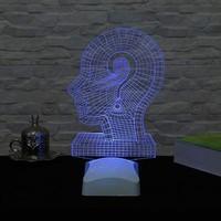Decor Desing 3 Boyutlu Soru İşaret Kafa Lamba V23D022