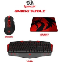 Redragon ASURA Klavye 70247 + ORIGIN Mouse 70343 + KUNLUN 500x400x6 Mouse Pad 70340 Gaming Set