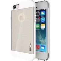Slicoo Apple iPhone Se/5/5S Beyaz Metalik Kenarlı Şeffaf Silikon Kılıf