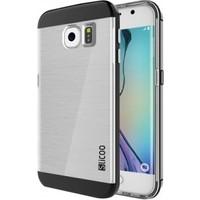 Slicoo Samsung Galaxy S6 Edge Metalik Kenarlı Şeffaf Silikon Kılıf - Dark Silver