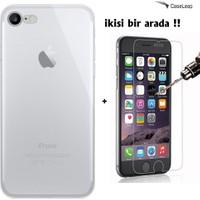 Case Leap iPhone 7 Plus İnce Silikon Kılıf Şeffaf + Cam