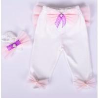 Küçük Rüyalar Pnt003 Süslü Bebek Patikli Pantolon Ve Saç Bandı
