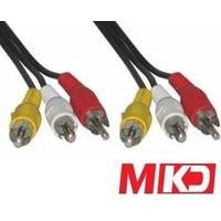 Mkd Mk-Rca03 Video + Stereo Ses Rca-Rca ( Vcd Kablosu ) Kablo 3 Metre Mk-Rca03