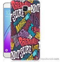 Bordo Samsung Galaxy A7 2016 Renkli Yazılar Baskılı Silikon Kapak Kılıf