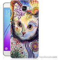 Bordo Samsung Galaxy A7 2016 Desenli Kedi Baskılı Silikon Kapak Kılıf