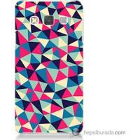 Bordo Samsung Galaxy A3 Renkli Üçgenler Baskılı Silikon Kapak Kılıf