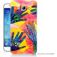Bordo Samsung Galaxy A8 Beş El Baskılı Silikon Kapak Kılıf