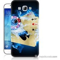 Bordo Samsung Galaxy A8 Dumanlı İskambil Baskılı Silikon Kapak Kılıf