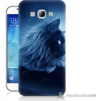 Bordo Samsung Galaxy A8 3D Kedicik Baskılı Silikon Kapak Kılıf