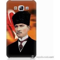 Bordo Samsung Galaxy E5 Atatürk Ve Bayrak Baskılı Silikon Kapak Kılıf