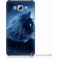 Bordo Samsung Galaxy E7 3D Kedicik Baskılı Silikon Kapak Kılıf