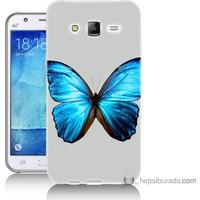 Bordo Samsung Galaxy J2 Tek Kelebek Baskılı Silikon Kapak Kılıf