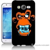 Bordo Samsung Galaxy J2 Turuncu Goril Baskılı Silikon Kapak Kılıf