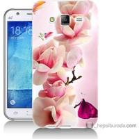 Bordo Samsung Galaxy J2 Gül Dalı Baskılı Silikon Kapak Kılıf