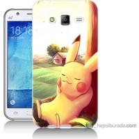 Bordo Samsung Galaxy J3 Pokemon Doğa Baskılı Silikon Kapak Kılıf