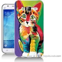 Bordo Samsung Galaxy J5 Resim Kedi Baskılı Silikon Kapak Kılıf