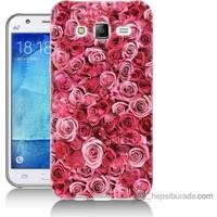 Bordo Samsung Galaxy J5 Pembe Güller Baskılı Silikon Kapak Kılıf