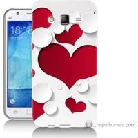 Bordo Samsung Galaxy J5 3D Kalp Baskılı Silikon Kapak Kılıf