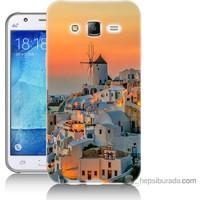 Bordo Samsung Galaxy J7 Manzara Yunanistan Baskılı Silikon Kapak Kılıf