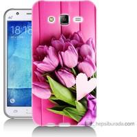 Bordo Samsung Galaxy J7 Pembe Laleler Baskılı Silikon Kapak Kılıf