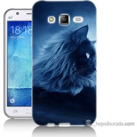 Bordo Samsung Galaxy J7 3D Kedicik Baskılı Silikon Kapak Kılıf