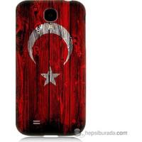 Bordo Samsung Galaxy S4 Türk Bayrağı Baskılı Silikon Kapak Kılıf