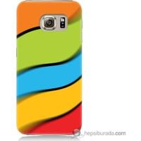 Bordo Samsung Galaxy S6 Renkli Kuşaklar Baskılı Silikon Kapak Kılıf