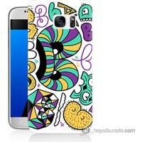 Bordo Samsung Galaxy S7 Harfler Baskılı Silikon Kapak Kılıf