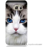 Bordo Samsung Galaxy S6 Maviş Gözlü Kedicik Baskılı Silikon Kapak Kılıf