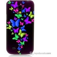 Bordo Samsung Galaxy S4 Mini Renkli Kelebekler Baskılı Silikon Kapak Kılıf