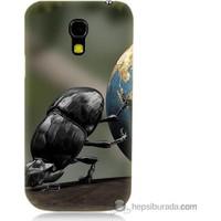 Bordo Samsung Galaxy S4 Mini Dünyayı İten Böcek Baskılı Silikon Kapak Kılıf