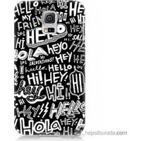Bordo Samsung Galaxy S5 Mini Hello Baskılı Silikon Kapak Kılıf