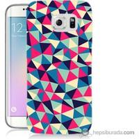 Bordo Samsung Galaxy S6 Edge Renkli Üçgenler Baskılı Silikon Kapak Kılıf