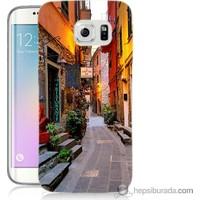 Bordo Samsung Galaxy S6 Edge Sokaklar Baskılı Silikon Kapak Kılıf