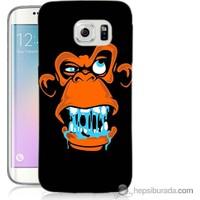 Bordo Samsung Galaxy S6 Edge Turuncu Goril Baskılı Silikon Kapak Kılıf