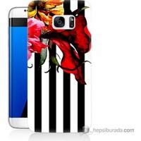 Bordo Samsung Galaxy S7 Edge Çiçek Baskılı Silikon Kapak Kılıf