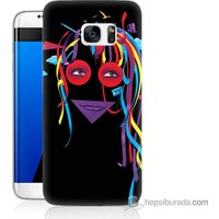 Bordo Samsung Galaxy S7 Edge Renkli Kız Baskılı Silikon Kapak Kılıf