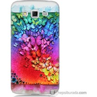 Bordo Samsung Galaxy Grand 2 Kelebekler Baskılı Silikon Kapak Kılıf