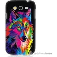 Bordo Samsung Galaxy Grand Duos Renkli Kurt Baskılı Silikon Kapak Kılıf