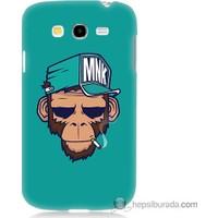 Bordo Samsung Galaxy Grand Neo Sakallı Maymun Baskılı Silikon Kapak Kılıf
