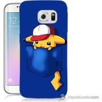 Bordo Samsung Galaxy S6 Edge Plus Uykucu Pikachu Baskılı Silikon Kapak Kılıf