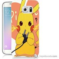 Bordo Samsung Galaxy S6 Edge Plus Düşünen Pikachu Baskılı Silikon Kapak Kılıf