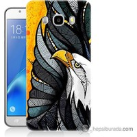 Bordo Samsung Galaxy J3 2016 Sarı Fon Kartal Baskılı Silikon Kapak Kılıf
