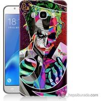 Bordo Samsung Galaxy J3 2016 Renkli Joker Baskılı Silikon Kapak Kılıf