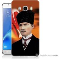 Bordo Samsung Galaxy J7 2016 Atatürk Ve Bayrak Baskılı Silikon Kapak Kılıf