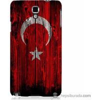 Bordo Samsung Galaxy Note 3 Neo Türk Bayrağı Baskılı Silikon Kapak Kılıf