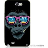 Bordo Samsung Galaxy Note 2 Gözlüklü Maymun Baskılı Silikon Kapak Kılıf