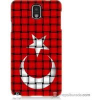 Bordo Samsung Galaxy Note 3 Kareli Türk Bayrağı Baskılı Silikon Kapak Kılıf